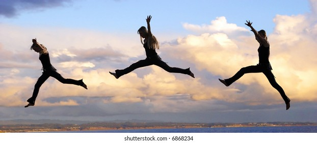 Multiple shots of a Leaping woman at sunset