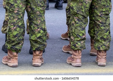 Multiple soldiers stand in camouflage fatigues and tan-colored desert boots. The men are lined up in two rows. The green uniforms are tucked inside high top boots.