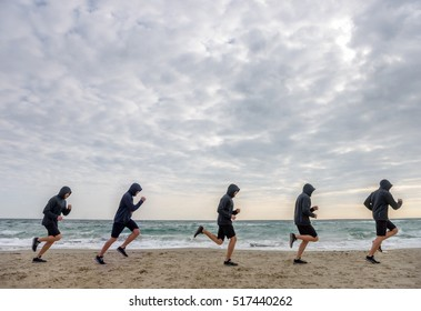 Multiple sport men clones jogging at the beach in the morning