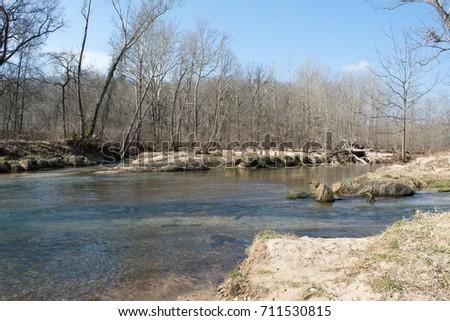 Multiple Streams Meet Form Larger River Stock Photo (Edit