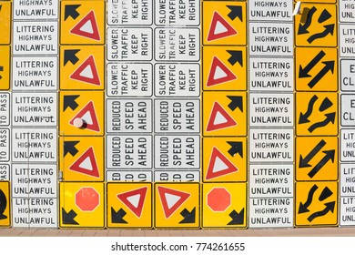 Multiple street warning direction signs