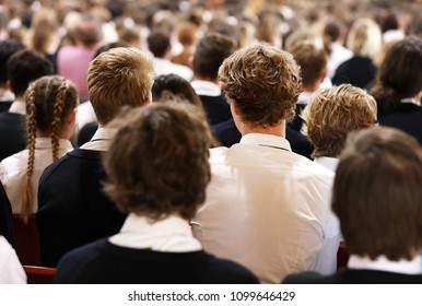 multiple students seated at assembly at high school facing the front listening attentively. school days life. backs of heads, facing the front, group shot of school age kids. Modern schooling. 2 boys