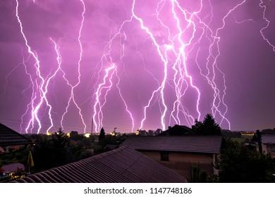 Multiple thunderstorm lightning strikes.