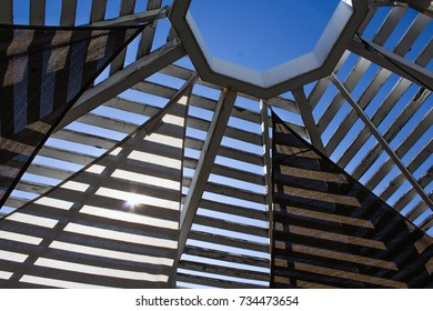 Multiple Triangular Fabric Panels Covering a Gazebo