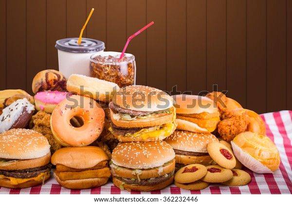 Multiple type of Fast food on table.