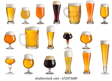 Multiple various glasses of different types of cold craft beer isolated on white background