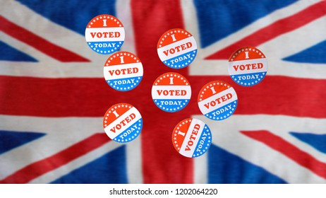 Multiple I Voted Today stickers with many having been used for voters in the British elections with UK flag