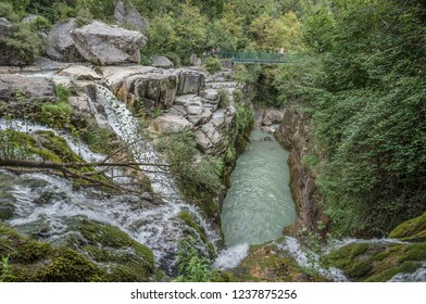 Multiple waterfalls of Anisclo Canyon in the Pyrenees of Huesca, south of Monte Perdido, located in Ordessa and Monte Perdido National Park, province of Huesca, town of Escaluna, Pyrenees, Spain