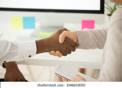 Multiracial business handshake as concept of successful teamwork, african american and caucasian partners shaking hands thanking for help support in work, showing gratitude and respect, close up view