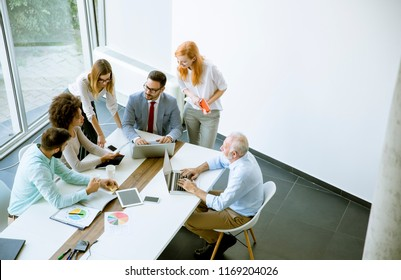 Multiracial business people working on project  in office