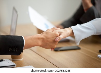 Multiracial businessman and businesswoman handshaking promising good deal at meeting, african man shaking hand of caucasian woman respecting gender equality or racial diversity concept, close up view
