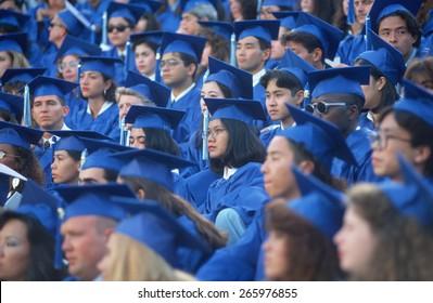 Multi-racial class graduating from Santa Monica City College, CA