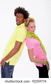 Multiracial couple of young people