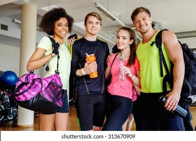 Multiracial group after aerobics class