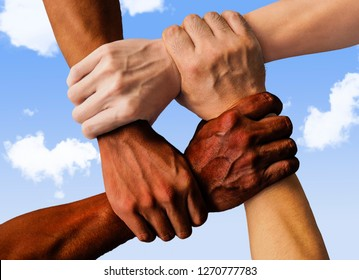 multiracial group with black african American Caucasian and Asian hands holding each other wrist in tolerance unity love and anti racism concept isolated on blue sky background