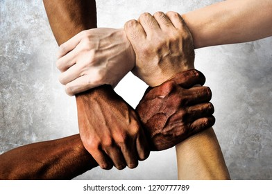 multiracial group with black african American Caucasian and Asian hands holding each other wrist in tolerance unity love and anti racism concept isolated on grunge background