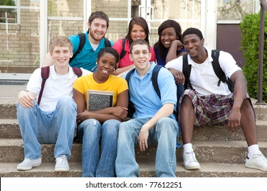A multi-racial group of College students/friends, male and female