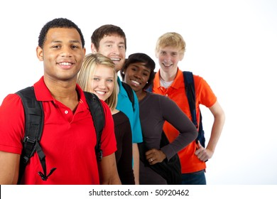 A multi-racial group of college students/friends on a white background