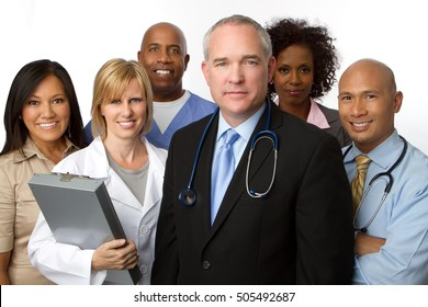 Multiracial group of doctors, nurses, administrators and heath care providers.