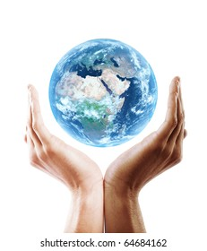 multiracial hand holding earth