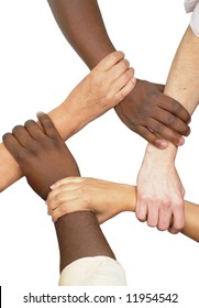 Multiracial hands holding each other in unity
