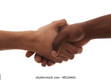 multiracial handshake from an african and caucasian men hands (isolated on white)