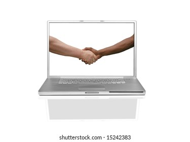 Multiracial Handshake Agreement on a Laptop Screen