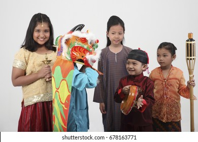 multiracial kids in traditional costumes