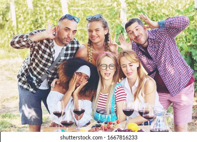 Multiracial millenial friends taking selfie with funny faces - Happy youth friendship concept with young guys and girls having fun at picnic party in vineyard – outdoor party with wine