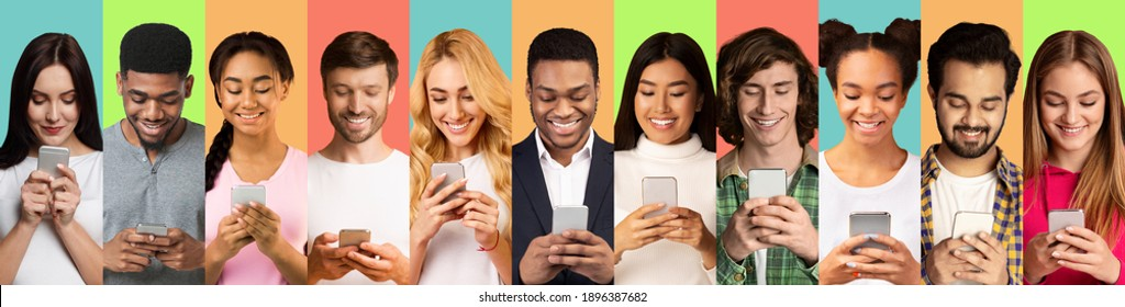 Multiracial Millennial People Using Phones Texting And Browsing Internet Over Different Colored Backgrounds. Collage Of Headshots With Men And Women Using Smartphones. Cellphones Users Crowd - Shutterstock ID 1896387682