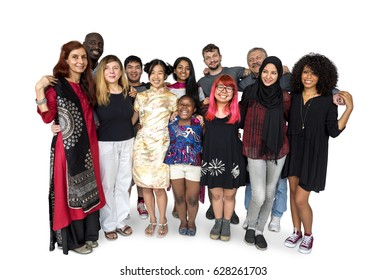 Multiracial people arm around teamwork support together