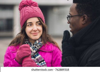 Multiracial students friends on a winter walking