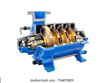 Multistage high pressure prepared pumpfor pumping of water, fuel, oil and oil products isolated on a white background.