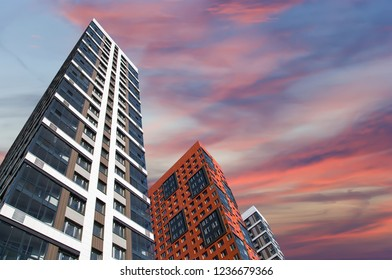 Multi-storey building under construction (new residential complex) against the sky, Moscow, Russia