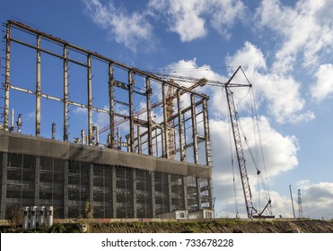 Multi-storey building under construction (new residential complex on the territory of the former ZIL plant), Moscow, Russia
