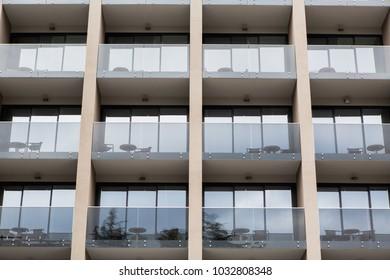 Multi-storey hotel with balconies