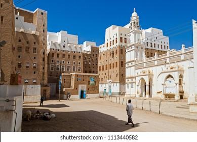 Multi-storey traditional buildings made of mud in Shibam, Yemen