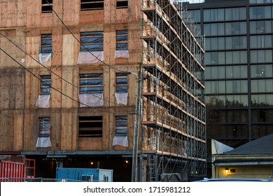 Multistory Building Under Construction in the City