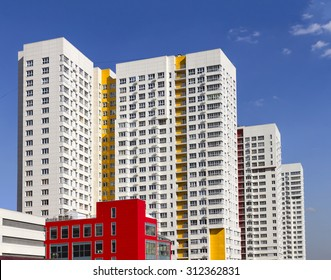 Multistory new modern apartment building. Stylish living block of flats
