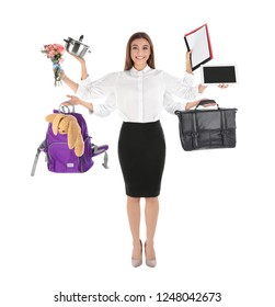 Multitask businesswoman with many hands holding different stuff on white background. Combining life and work