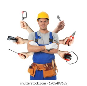 Multitasking concept. Handyman with different tools on white background