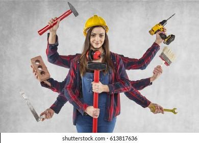 multitasking female worker, many hands