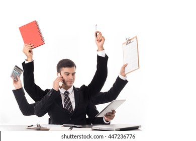 Multitasking man busy business manager task with white background.