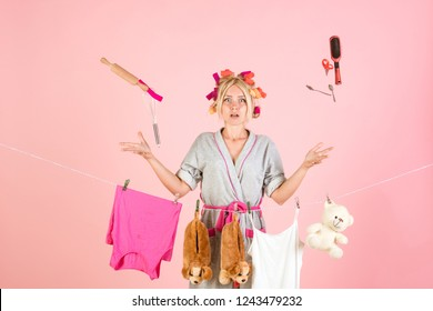 Multitasking mom. Performing Different Household Duties. Busy mother. Vintage housekeeper woman. Working from home. Maid or housewife cares about house. happy retro housewife.