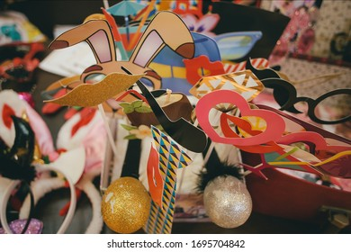 Multitude of mirrorbooth or photobooth props