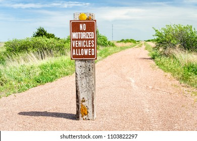 multi-use recreational Cowboy Trail in northern Nebraska with no motorized vehicles sign