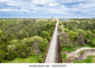 multi-use recreational Cowboy Trail in northern Nebraska - aerial view of a long trestle over Long Pine Creek