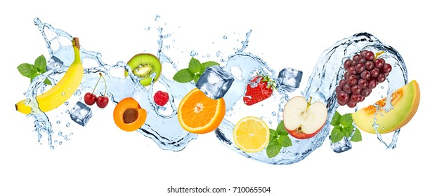 multivitamin  water splash wave with various fruits peppermint leafs and ice cubes isolated on white background