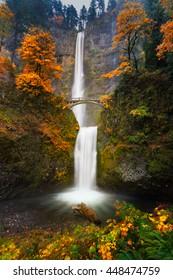 Multnomah Falls in Autumn colors.