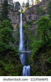 Multnomah Falls by Benson Bridge in the Columbia River Gorge near Portland Oregon Northwest, United States.